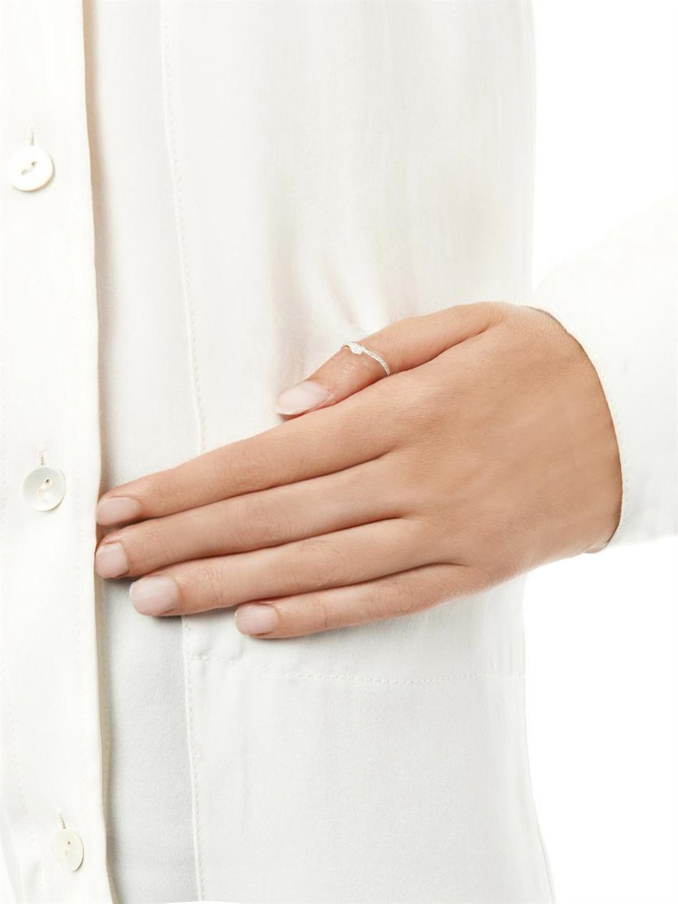 Elise Dray Diamond White Gold Snake Thumb Ring In White Lyst