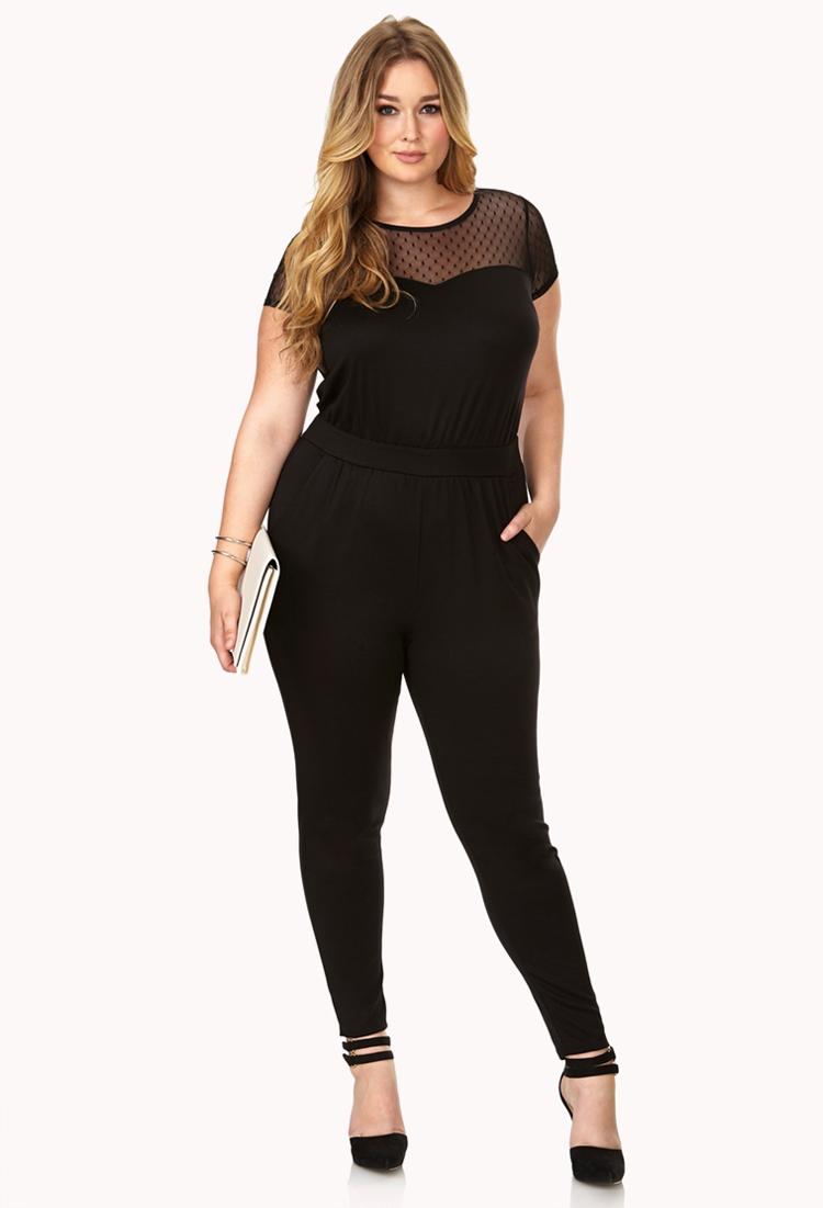 1436a2df179b Forever 21 Street-femme Mesh Jumpsuit In Black