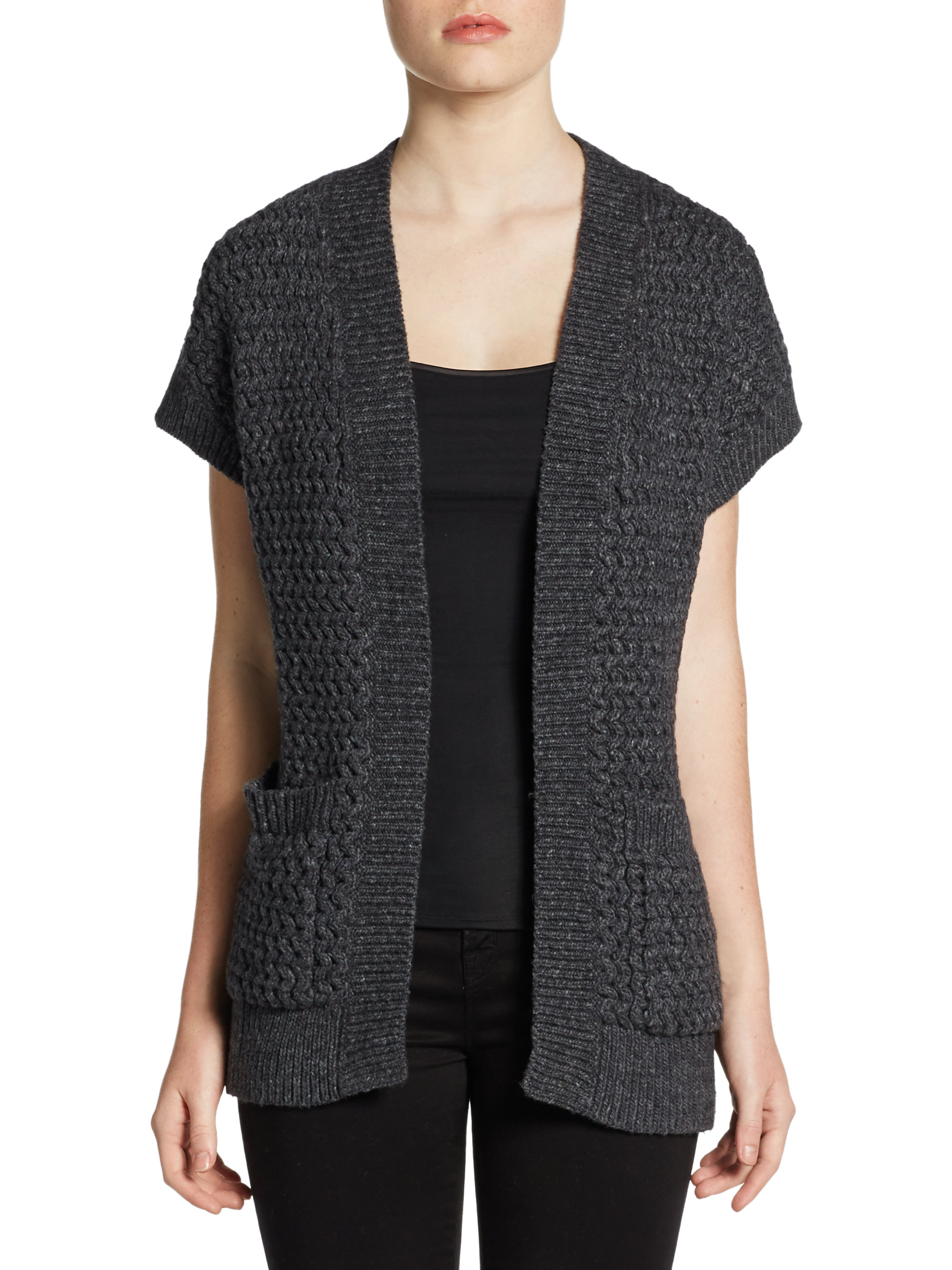 Lafayette 148 new york Short Sleeve Knit Cardigan in Gray | Lyst