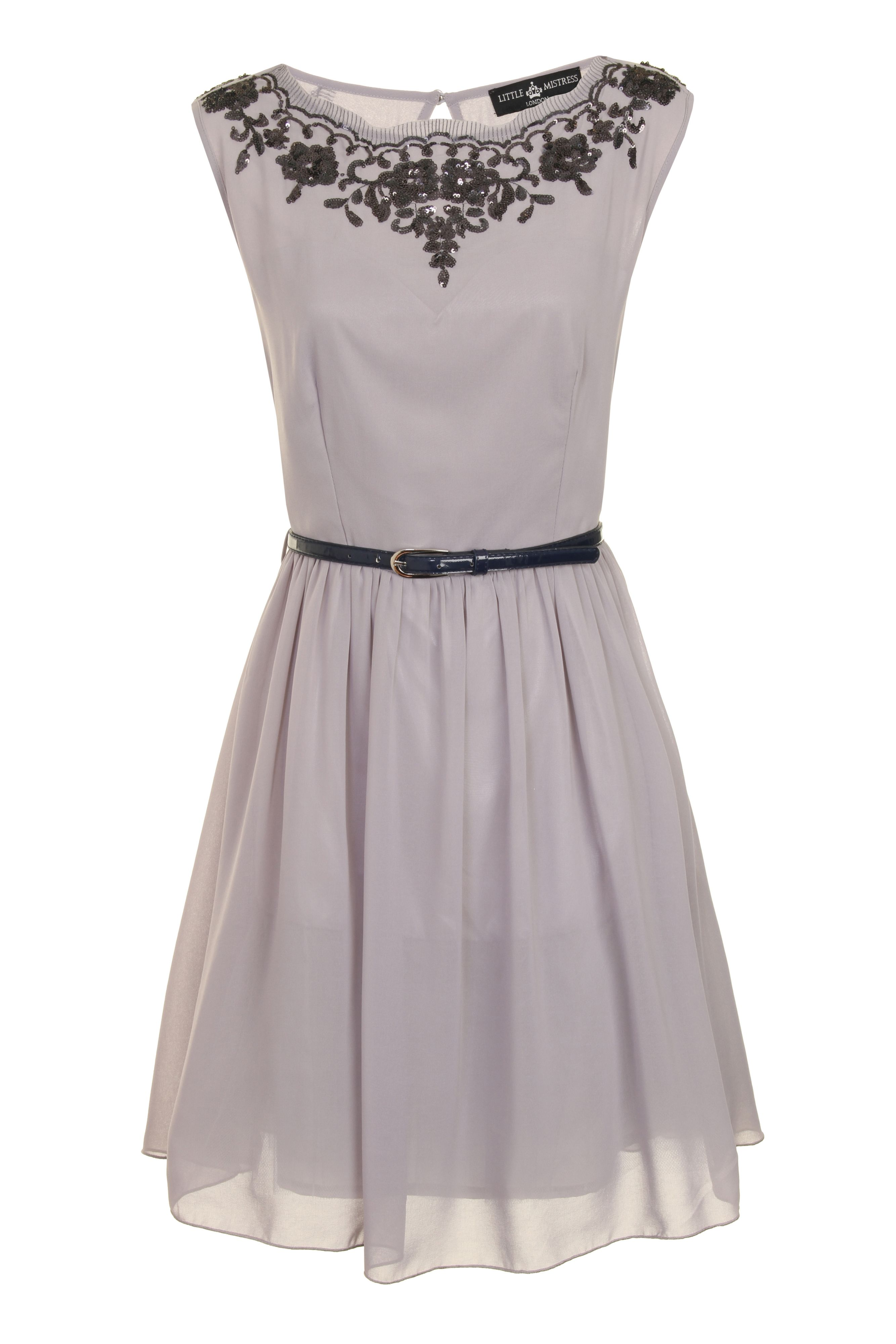 Little Mistress Slash Neck Fit And Flare Dress In Gray