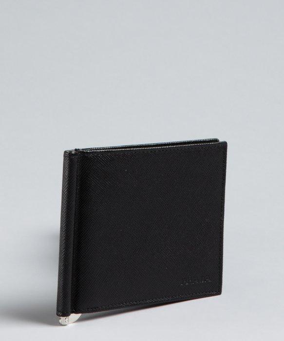 67f5e5082f73 ... inexpensive lyst prada black saffiano money clip bifold wallet in black  for men 2f924 d68e6