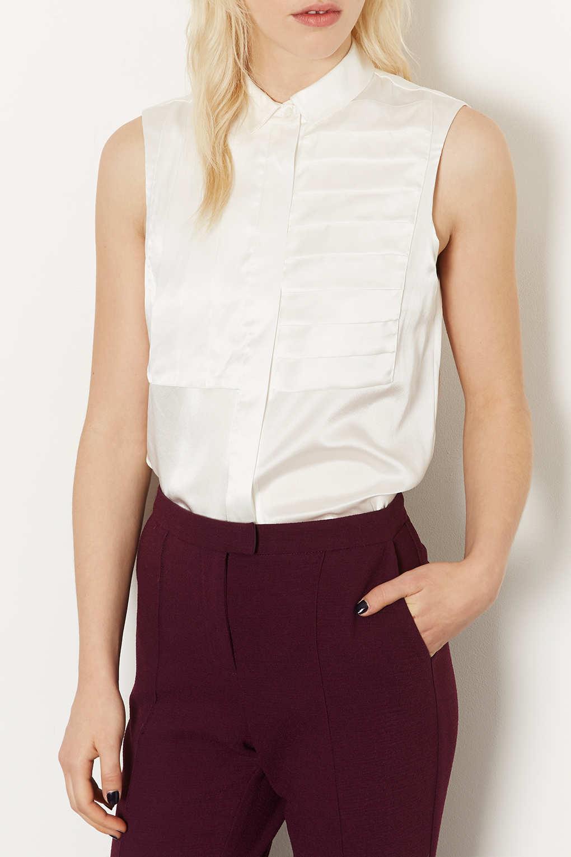 bf269c6af2fe5 Topshop Silk Pleat Shirt in Natural - Lyst