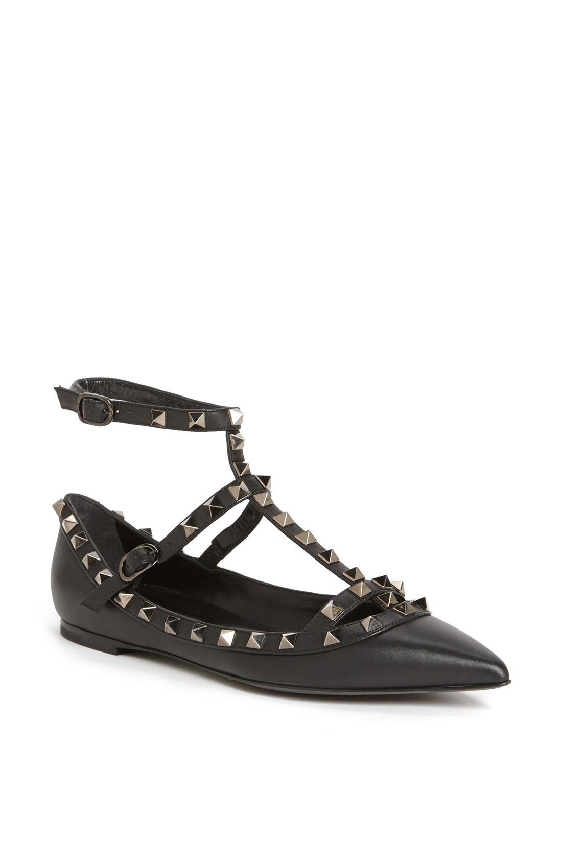 Valentino Rockstud Double Ankle Strap Pointy Toe Flat In