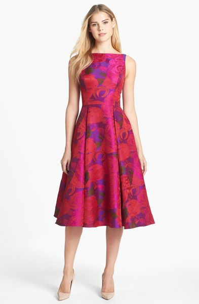 Adrianna Papell Jacquard Tea Length Fit Flare Dress In