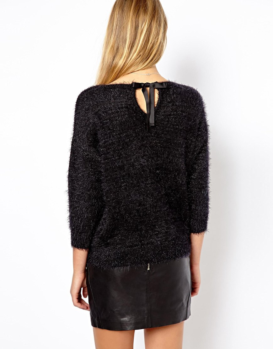 Asos Oasis Fluffy Sequin Sweater in Black   Lyst