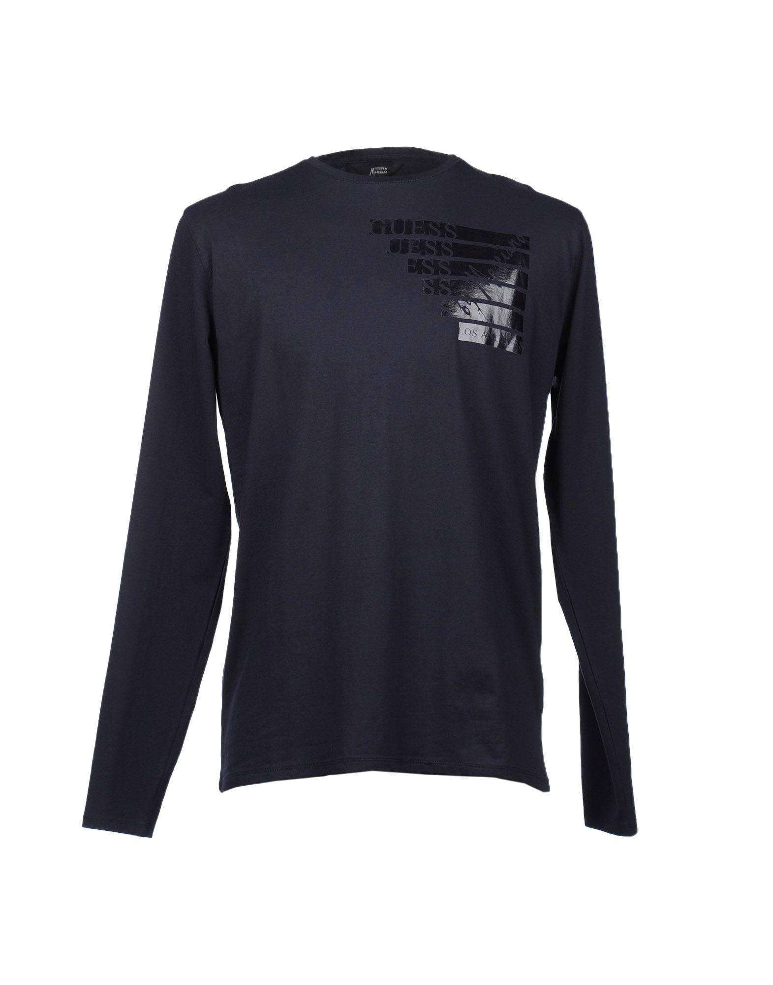Guess Long Sleeve Tshirt In Blue For Men Dark Blue Lyst