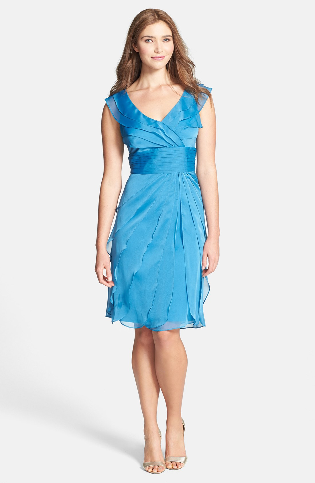 Adrianna papell Tiered Chiffon Dress in Blue | Lyst