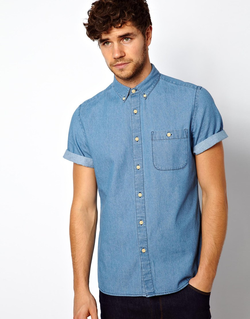 lyst asos denim shirt in short sleeve with mid wash in