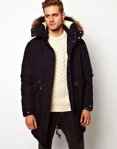 Asos Fishtail Parka with Down in Black for Men (Navy) | Lyst
