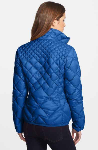 Michael Michael Kors Diamond Quilted Down Jacket In Blue