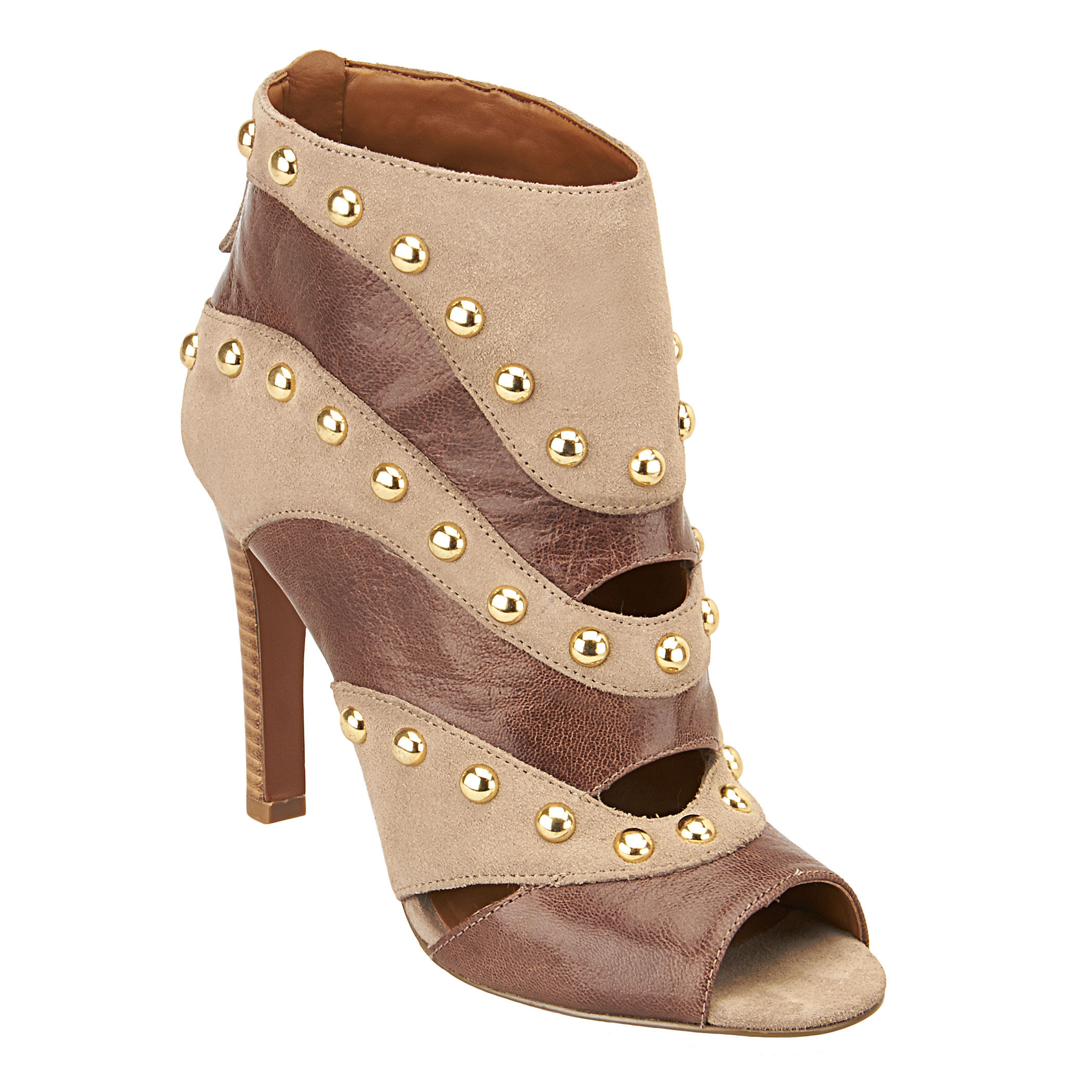 Nine West Ezzy Peep Toe Studded Booties In Brown Taupe