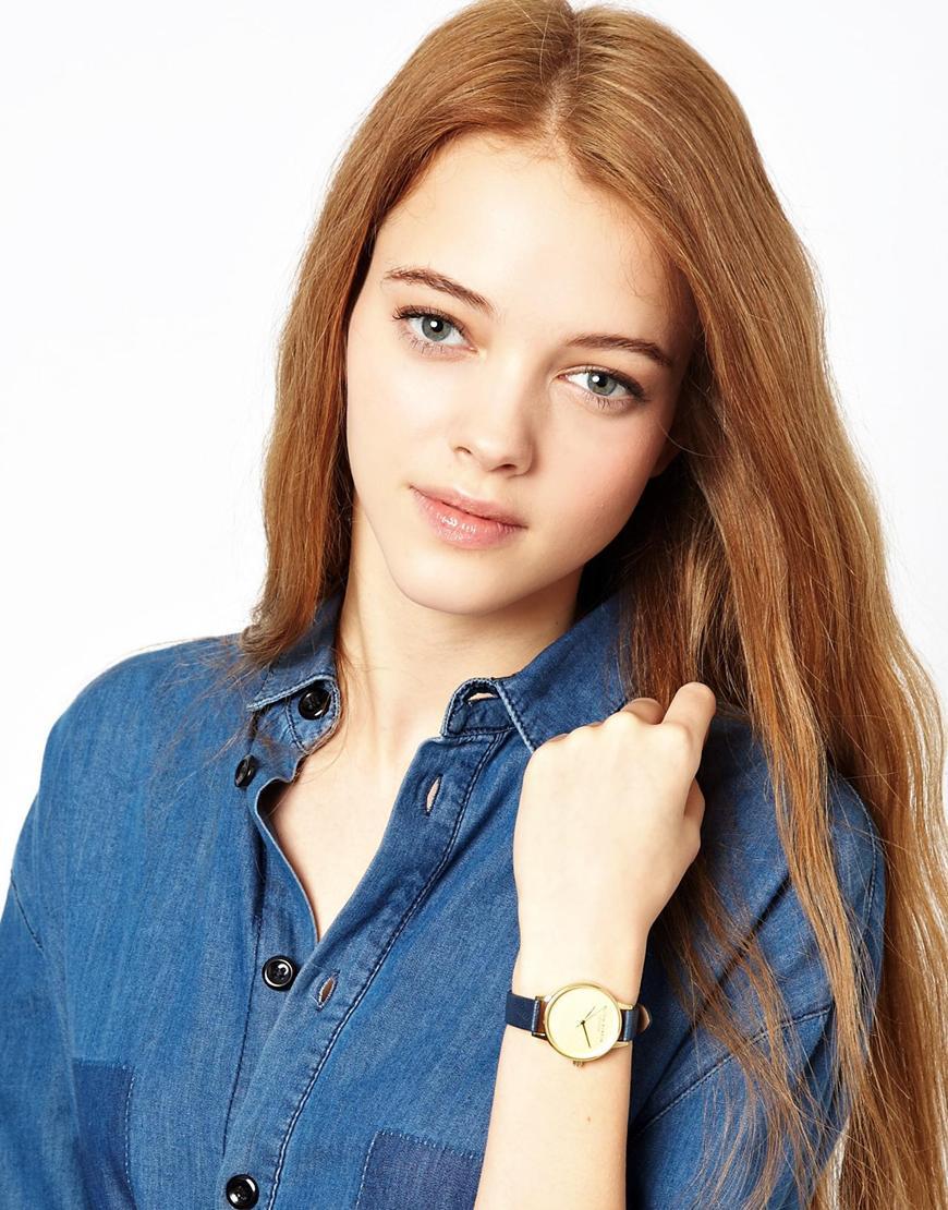 Olivia Burton Navy Dot Face Watch In Blue Navy Lyst