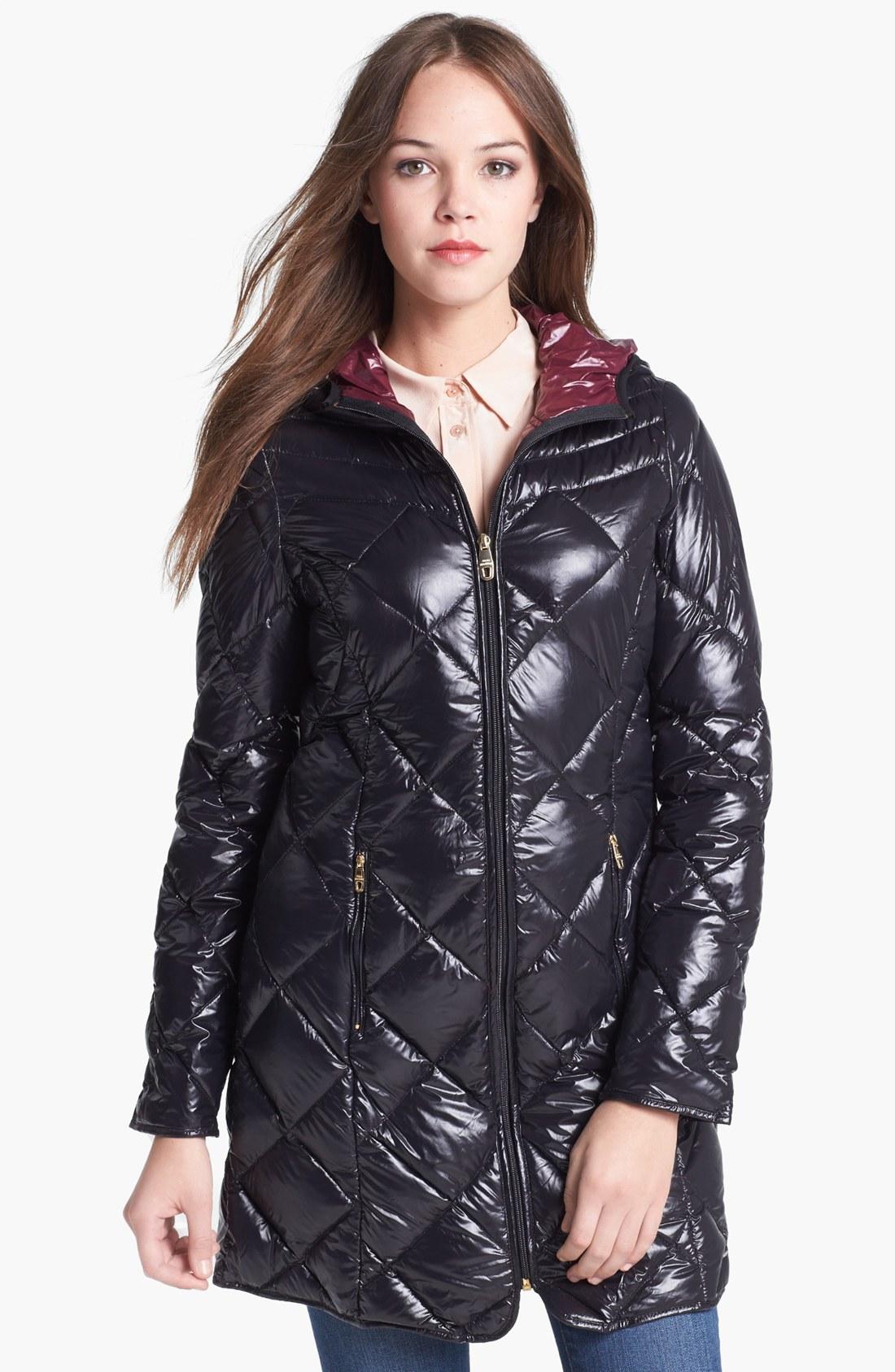 Tommy Hilfiger Womens Hooded Down Jacket Black Large