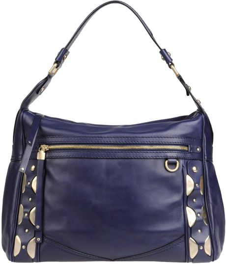Versace Large Leather Bag in Blue (Dark blue)