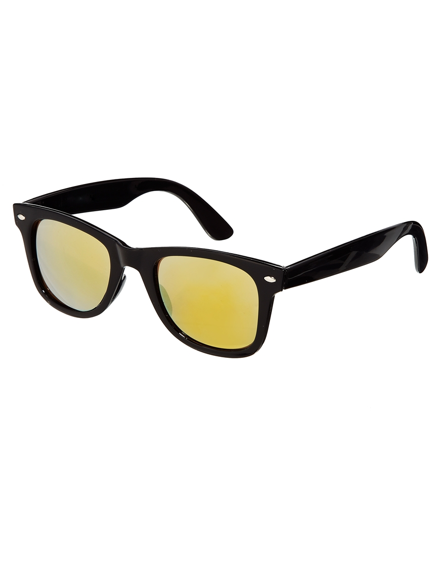 8619d0ffffb Lyst - ASOS Wayfarer Sunglasses with Yellow Mirror Lens in Black for Men