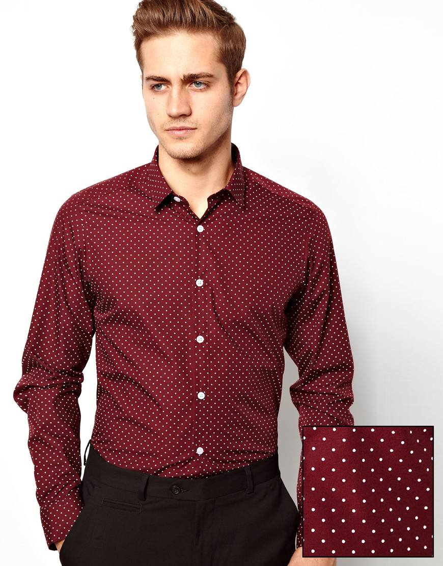 Asos Smart Shirt In Long Sleeve With Polka Dot Print in Red for ...