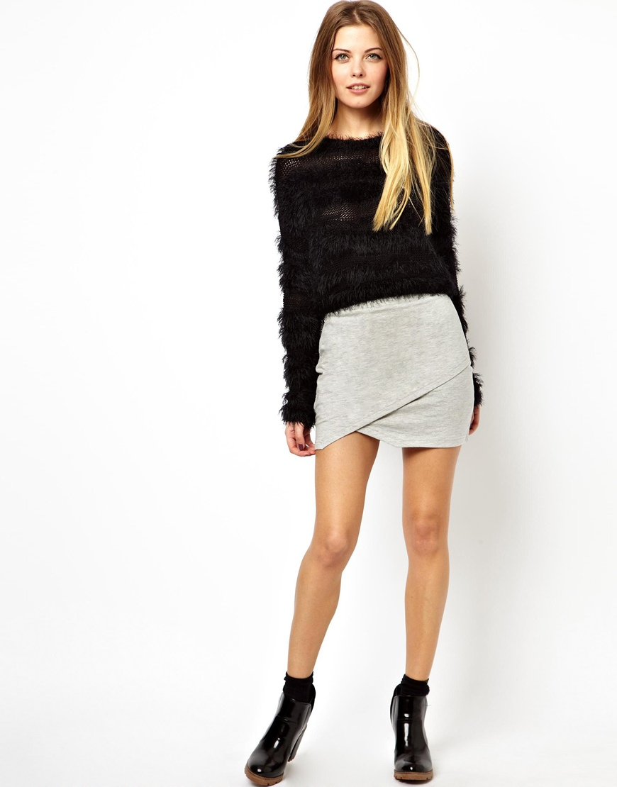 Asos Mini Skirt With Wrap In Sweat in Gray | Lyst
