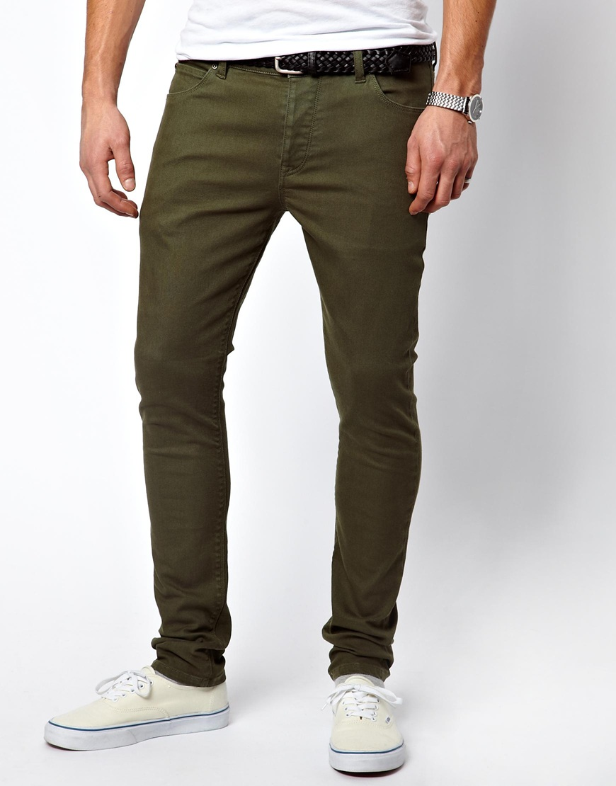 Asos Super Skinny Jeans in Green for Men | Lyst
