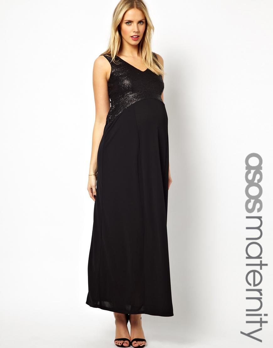 Lyst Asos Maxi Dress In Sequin In Black