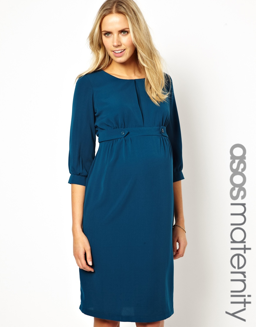 Asos exclusive midi dress in blue lyst gallery ombrellifo Choice Image