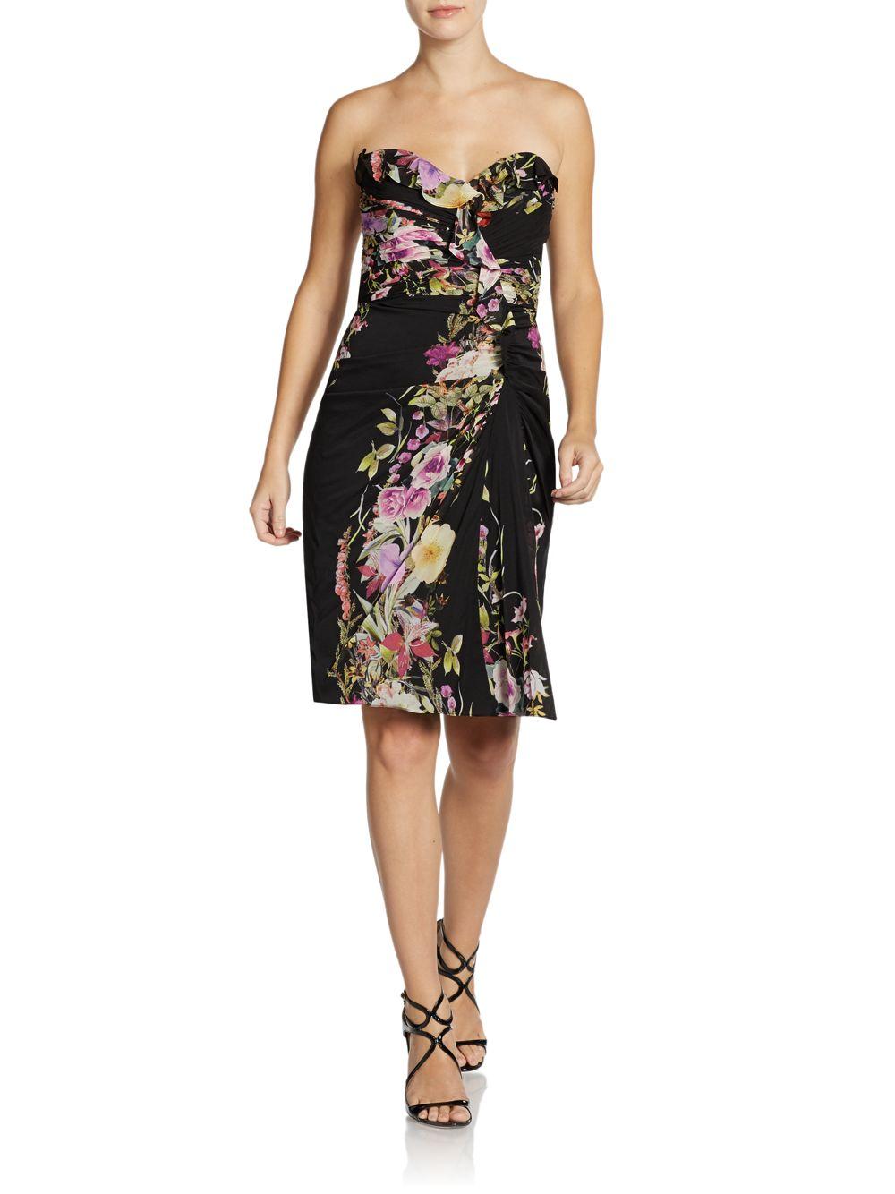 Badgley Mischka Strapless Silk Floral Cocktail Dress In