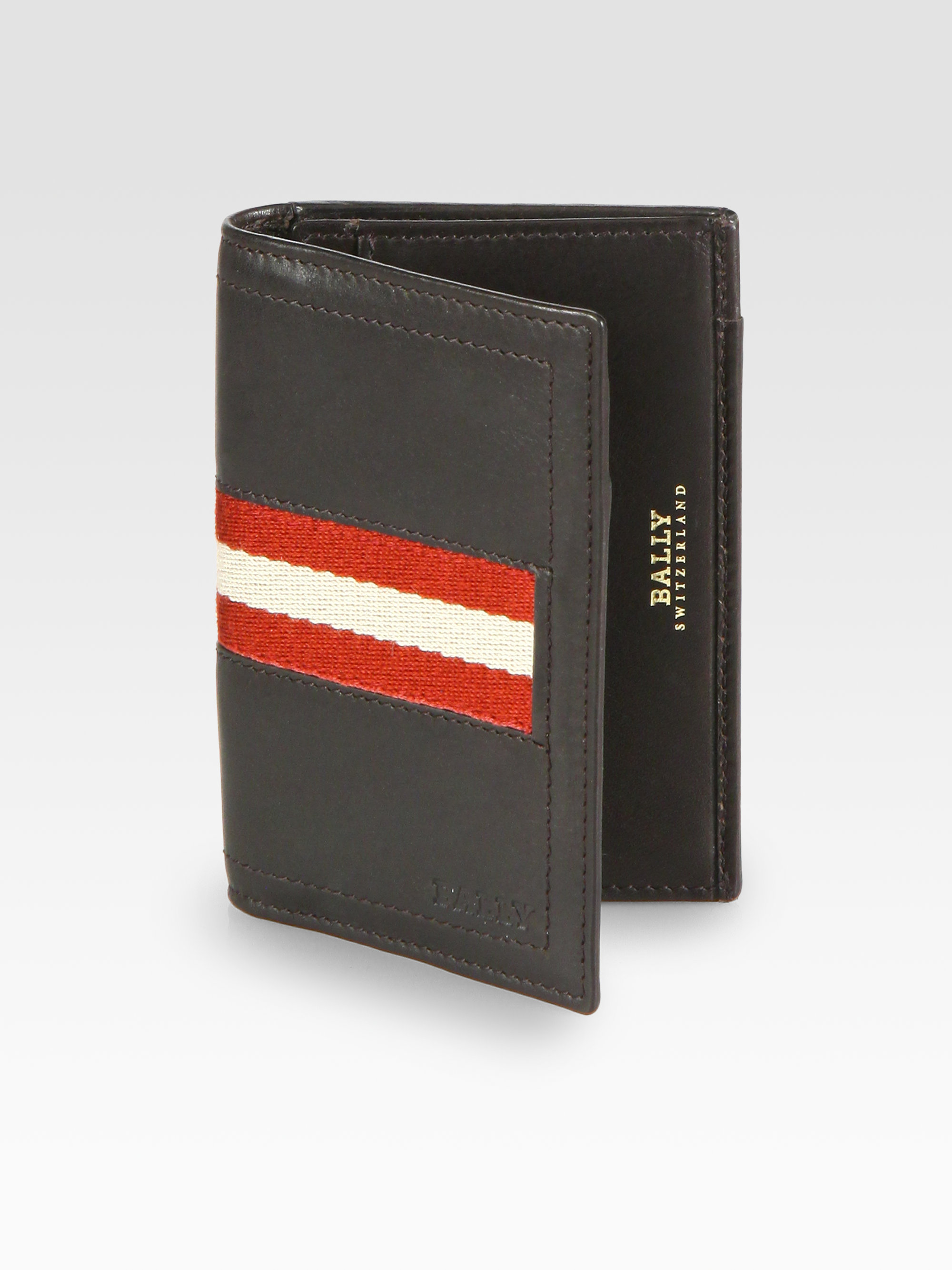 Lyst bally striped business card holder in black for men gallery colourmoves