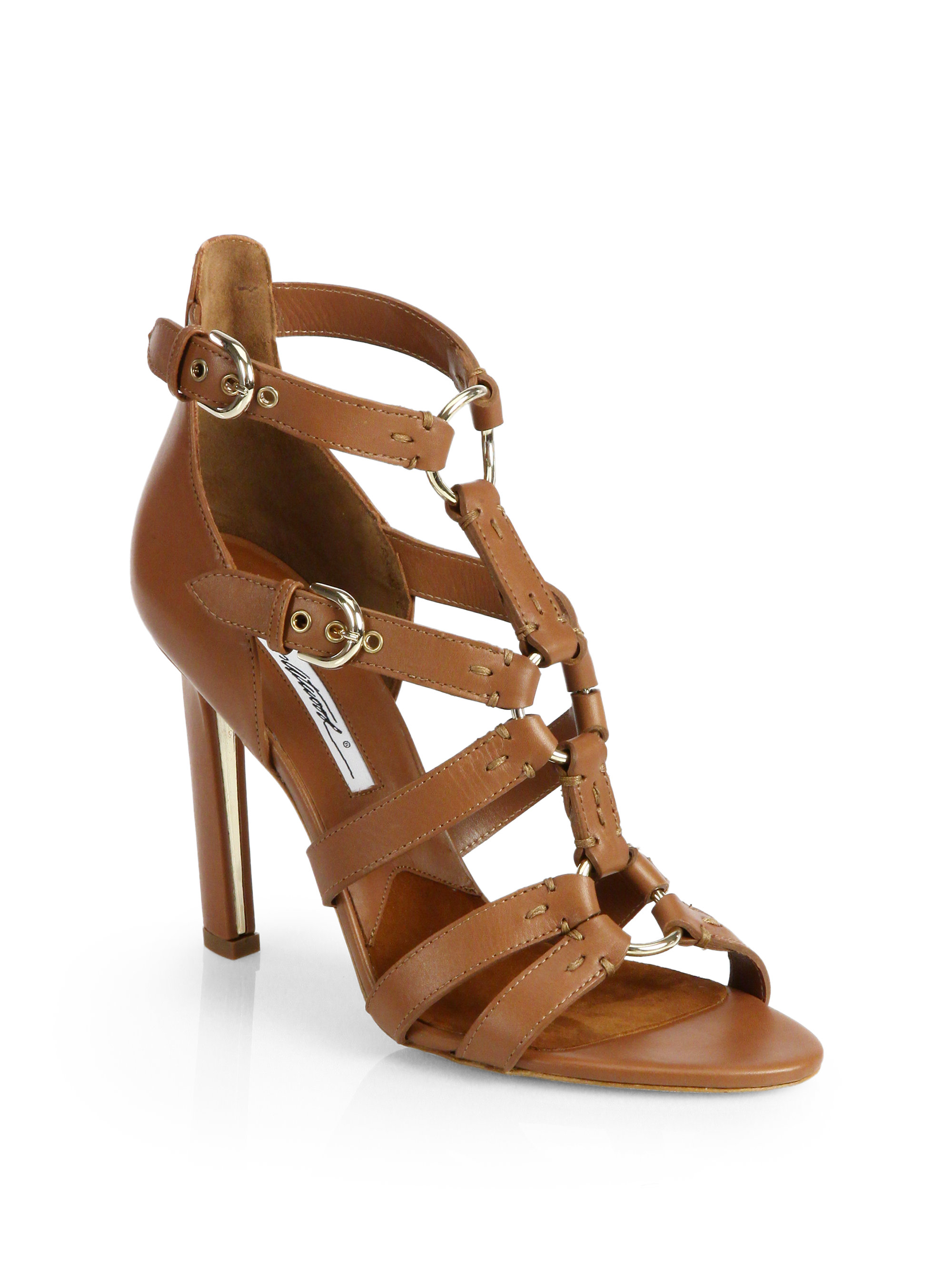 Brian Atwood Adrya Leather Bondage Sandals In Brown Tan