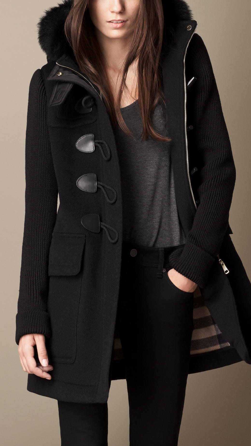 burberry fur trim duffle coat with contrast sleeves in. Black Bedroom Furniture Sets. Home Design Ideas