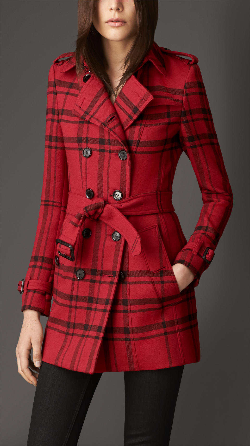Burberry Short Check Technical Wool Trench Coat In Red