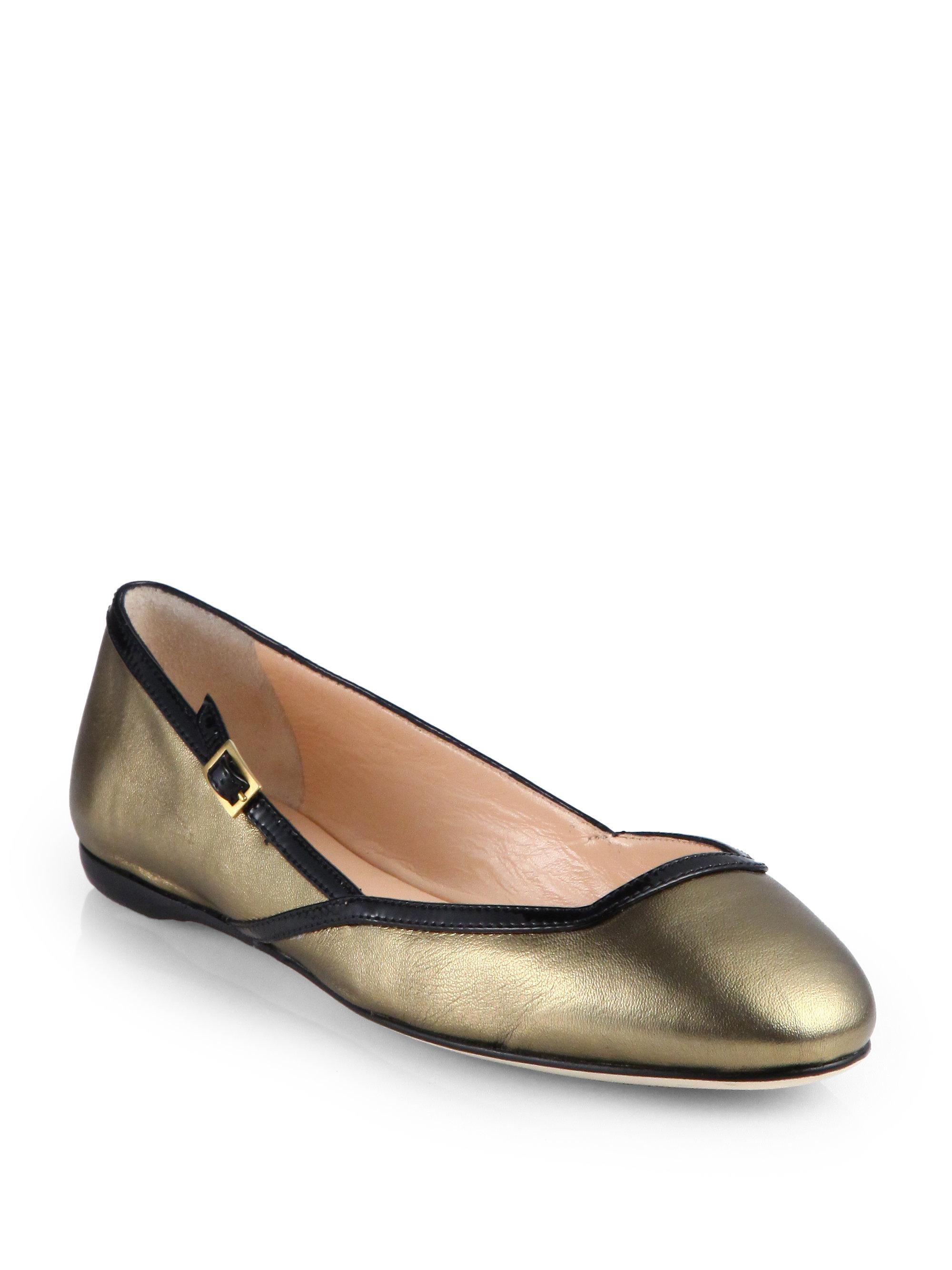 Calvin Klein Eda Metallic Leather Ballet Flats In Gold (GOLD BLACK) | Lyst