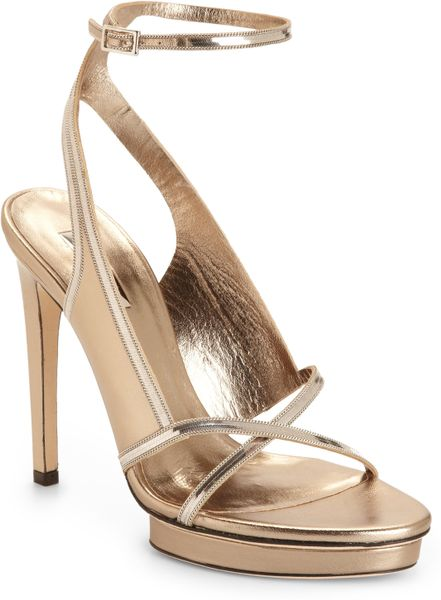 calvin klein cobra chain metallic leather sandals in gold. Black Bedroom Furniture Sets. Home Design Ideas