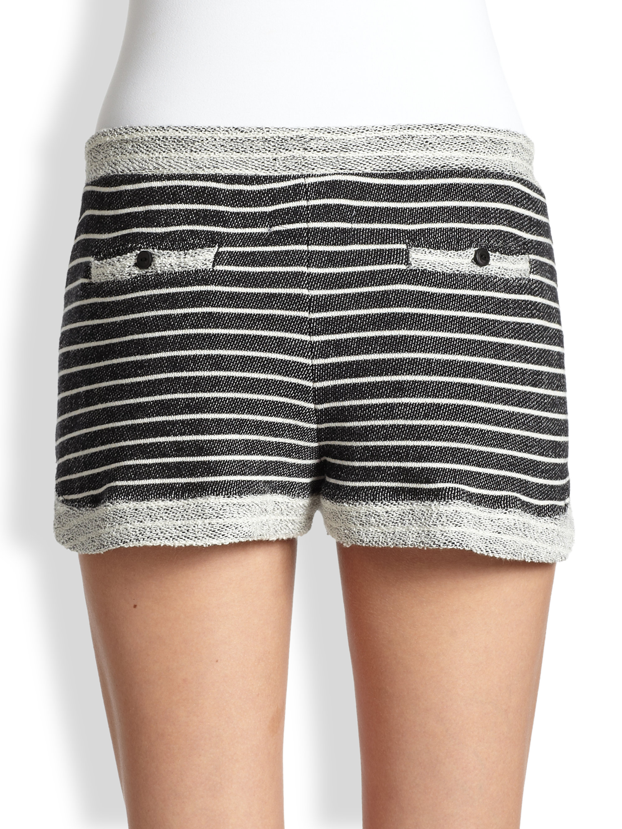 4cd0d655e Lyst - Cardigan Colette Striped Cotton Terry Shorts in Black
