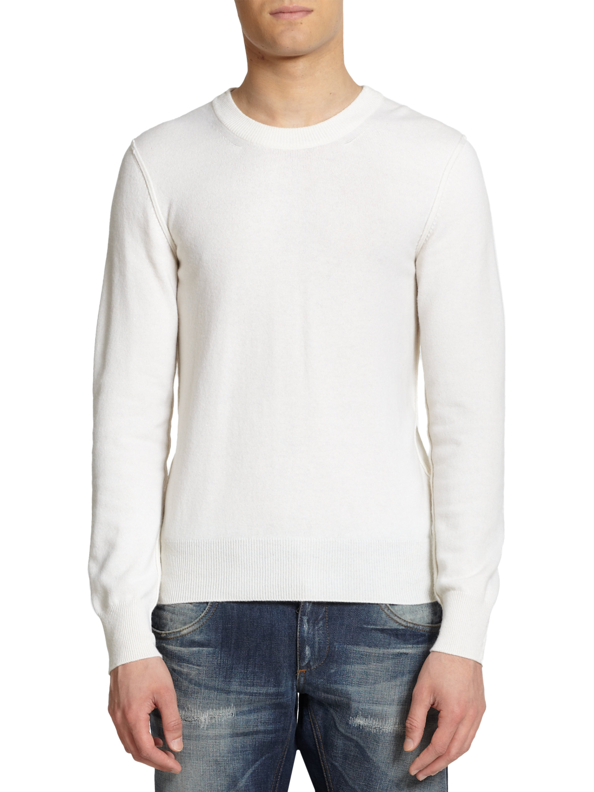 Dolce & gabbana Cashmere Crewneck Pullover Sweater in White for ...
