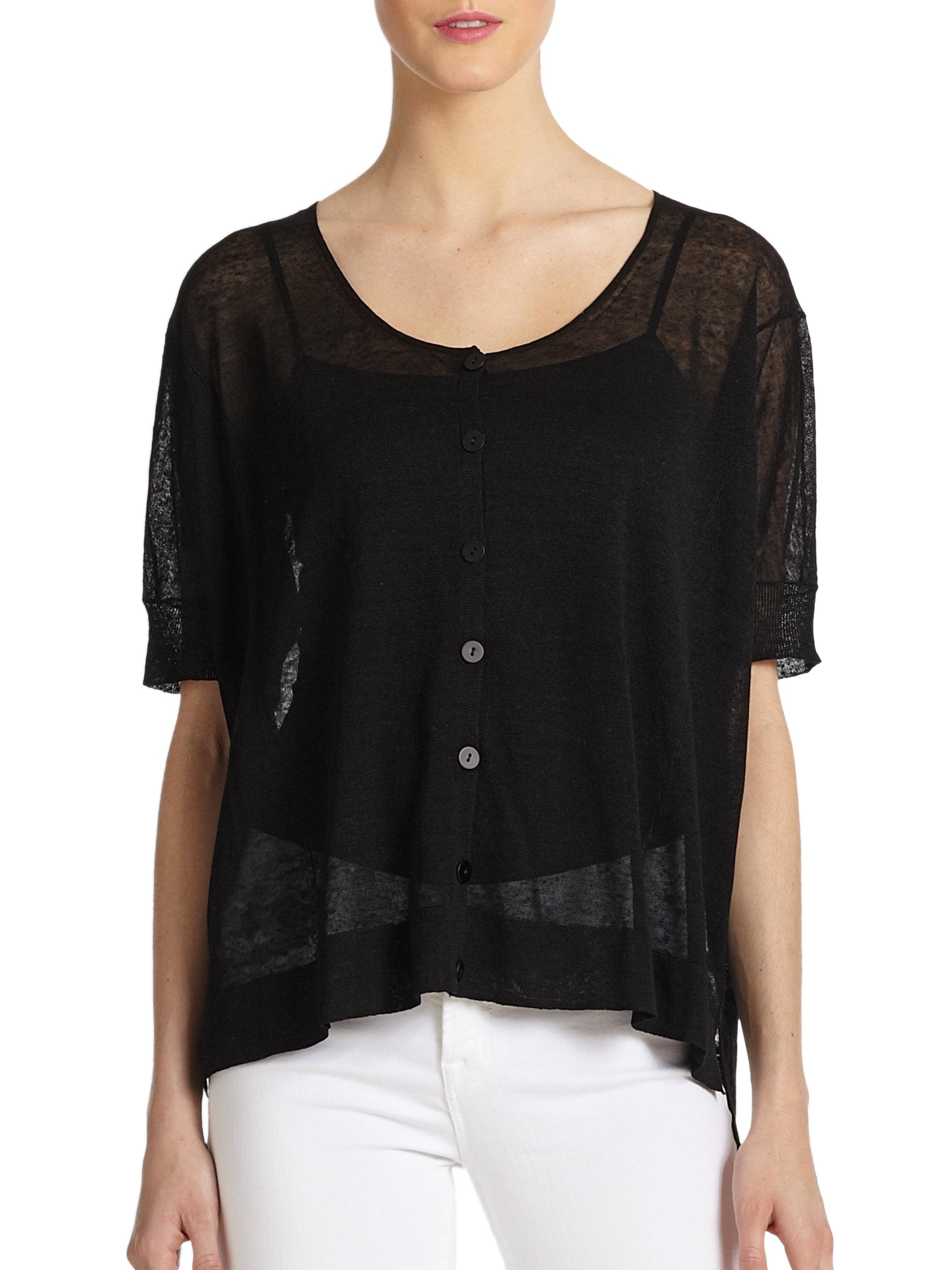 Eileen fisher Sheer Short Sleeve Hilo Cardigan in Black | Lyst