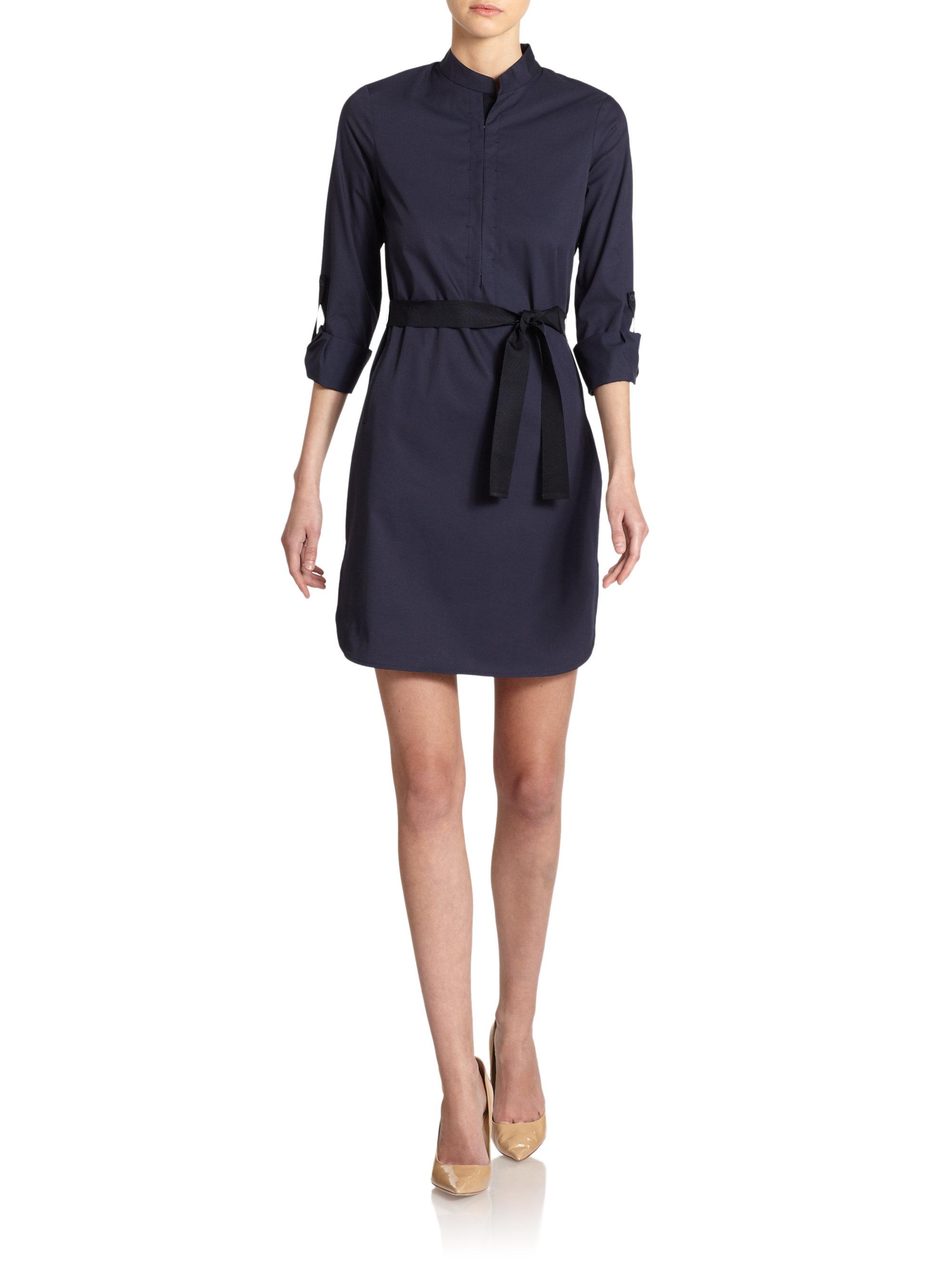 elie tahari tinka ribbon belt mockneck dress in blue navy