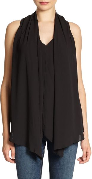 Elizabeth And James Modern Grace Drapedfront Blouse in Black