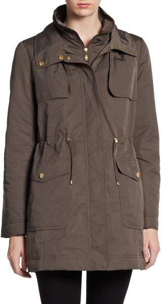 Ellen Tracy Faux Fur Trimmed Winter Jacket In Green Olive