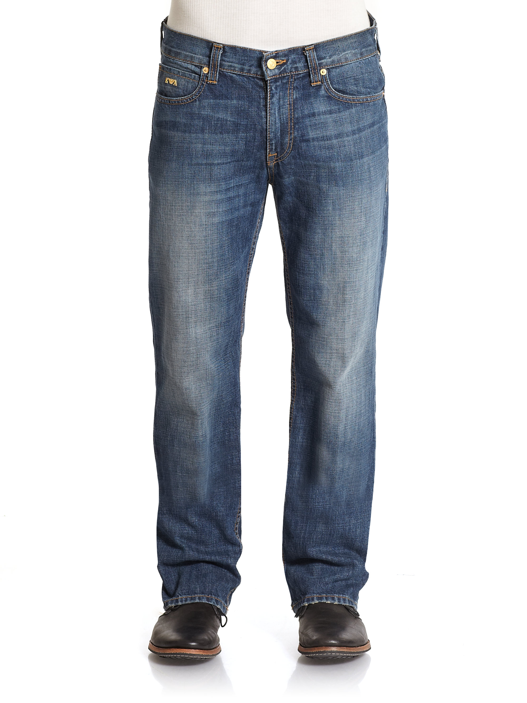 Lyst - Emporio armani Brad Darkwash Straightleg Jeans in Blue for Men