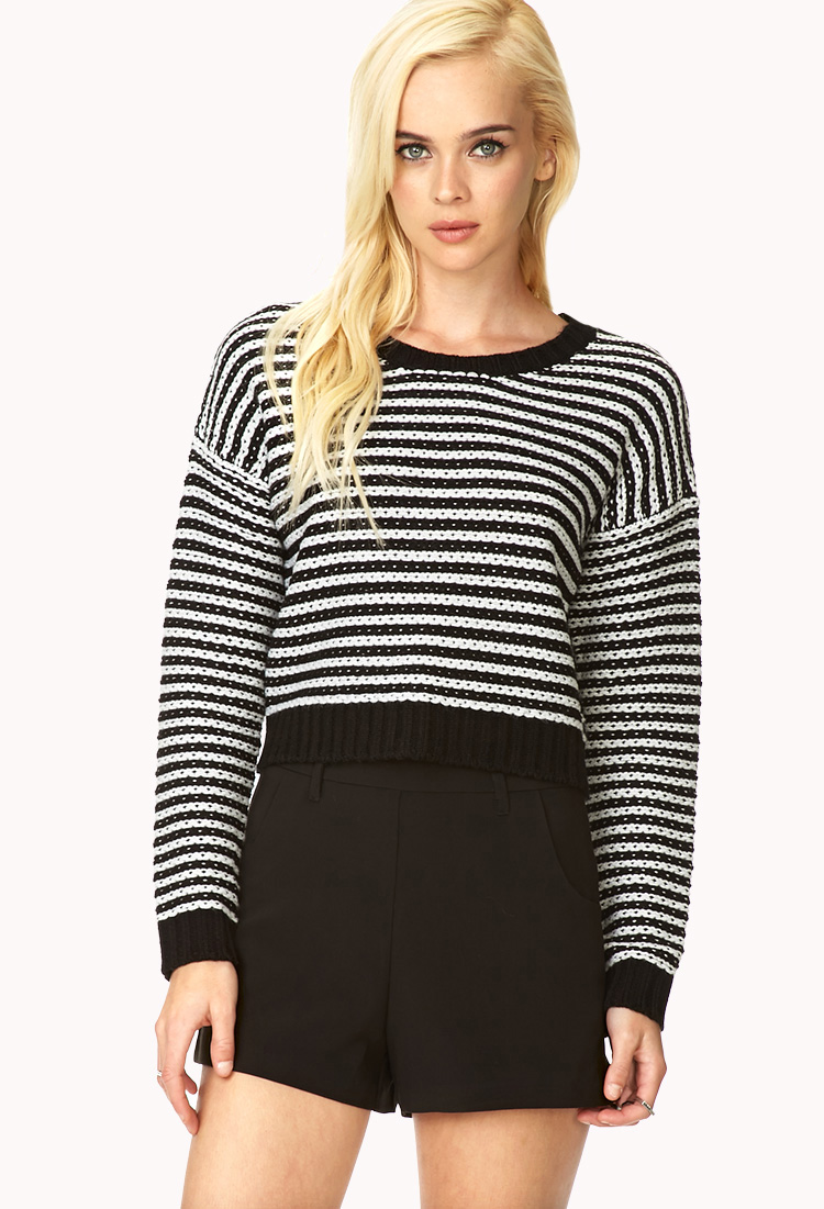 Forever 21 Bold Stripes Cropped Sweater in Black - Lyst