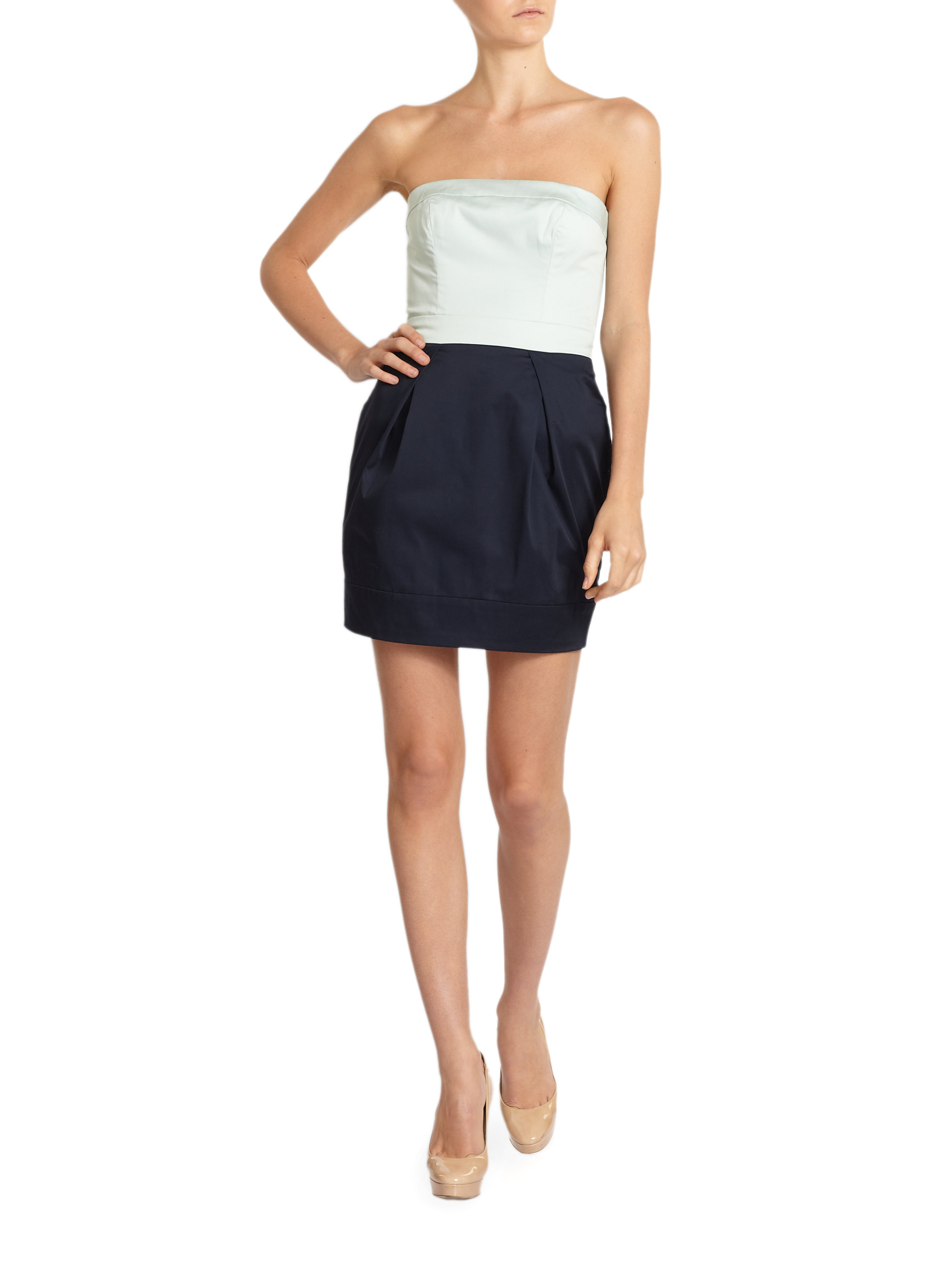 lyst french connection wizard colorblock strapless dress in blue