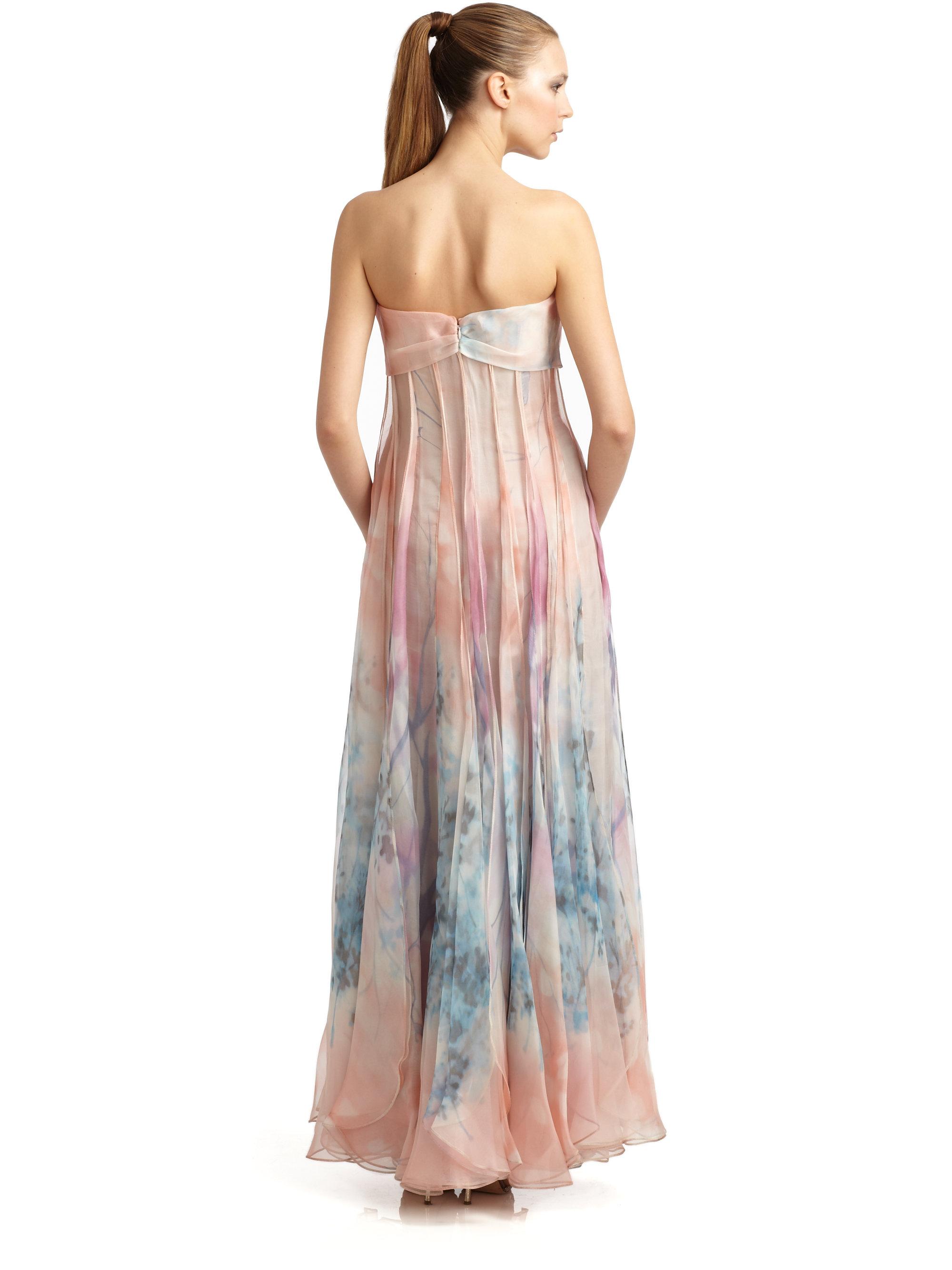 Giorgio Armani Watercolor Floral Print Silk Strapless