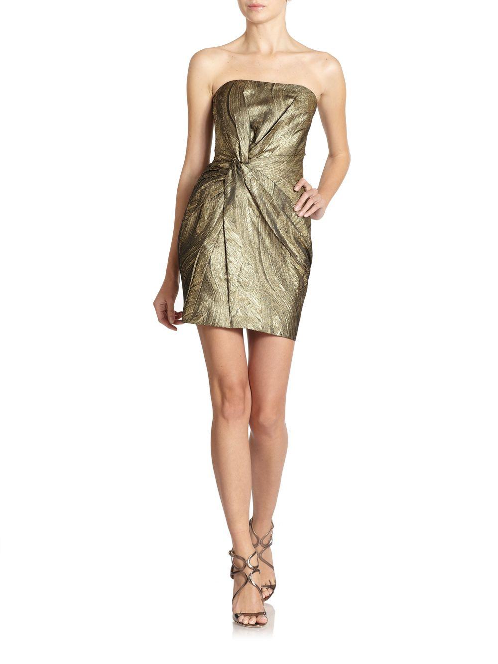 3fc8ea734210 Haute Hippie Twist-front Metallic Silk Cocktail Dress in Metallic - Lyst