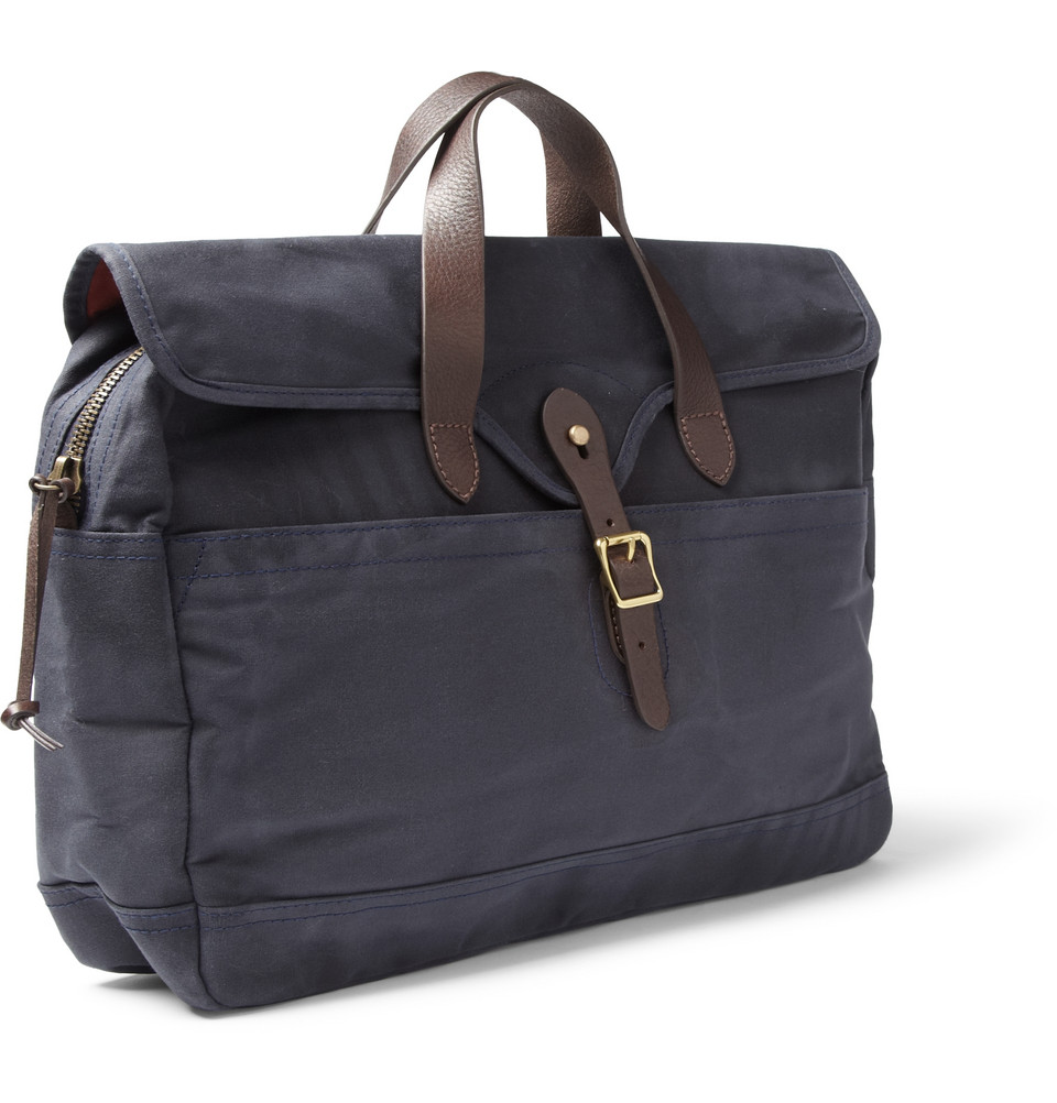 4420970227 Lyst - J.Crew Abingdon Waxed Cotton-Canvas And Leather Laptop Bag in Blue  for Men