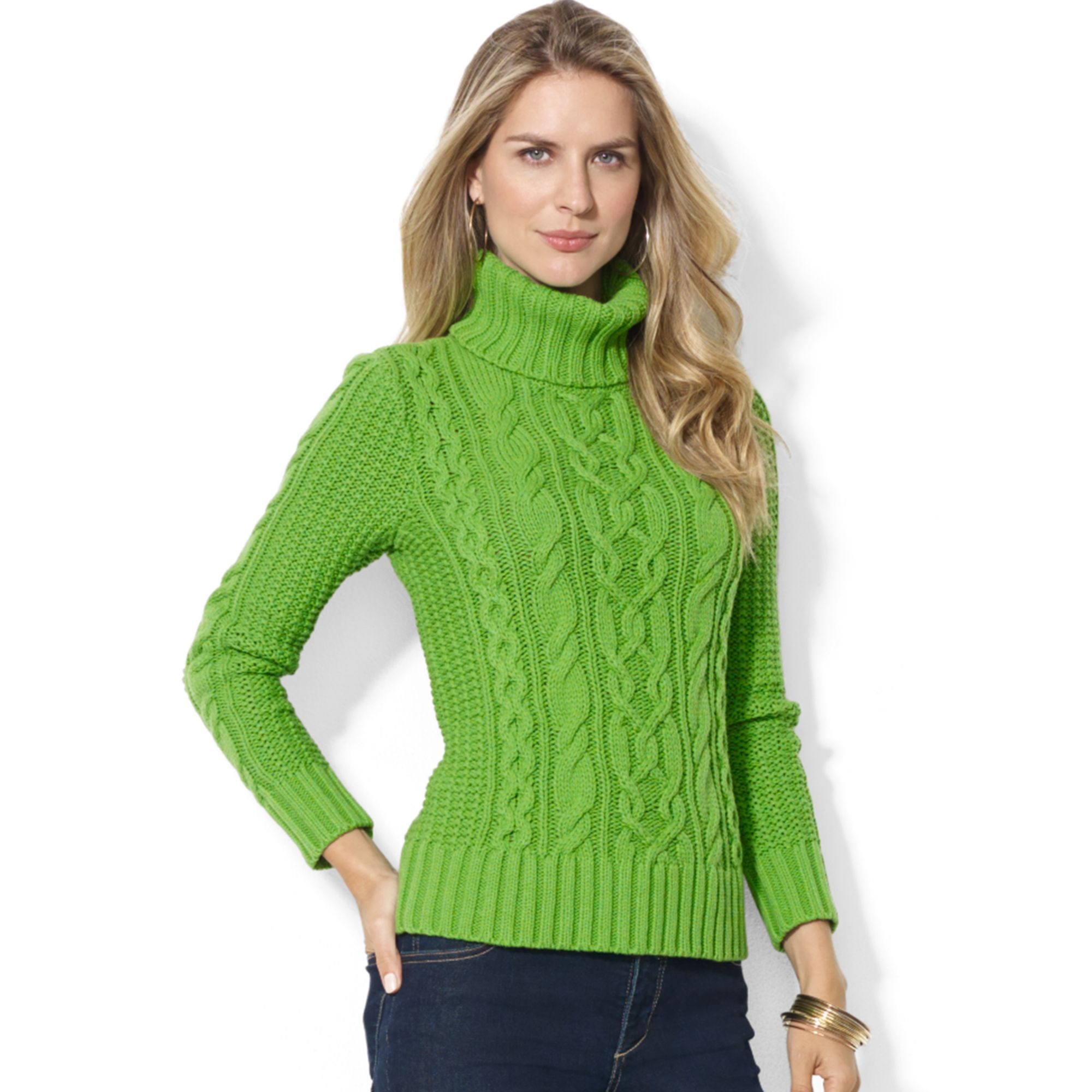 Lauren by ralph lauren Lauren Jeans Co Cableknit Turtleneck ...