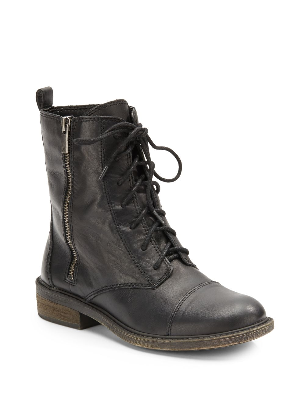 lucky brand nolina leather combat boots in black lyst
