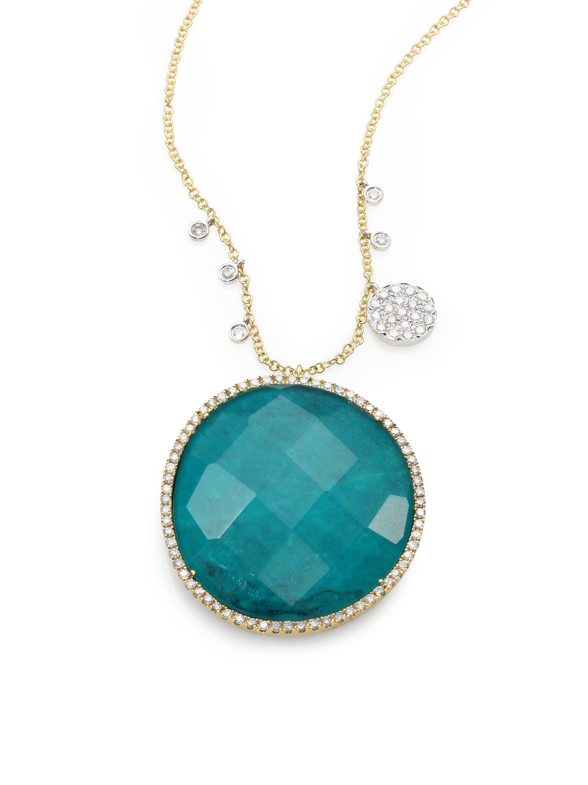 Meira t Black Turquoise Doublet Diamond 14k White Gold Necklace in