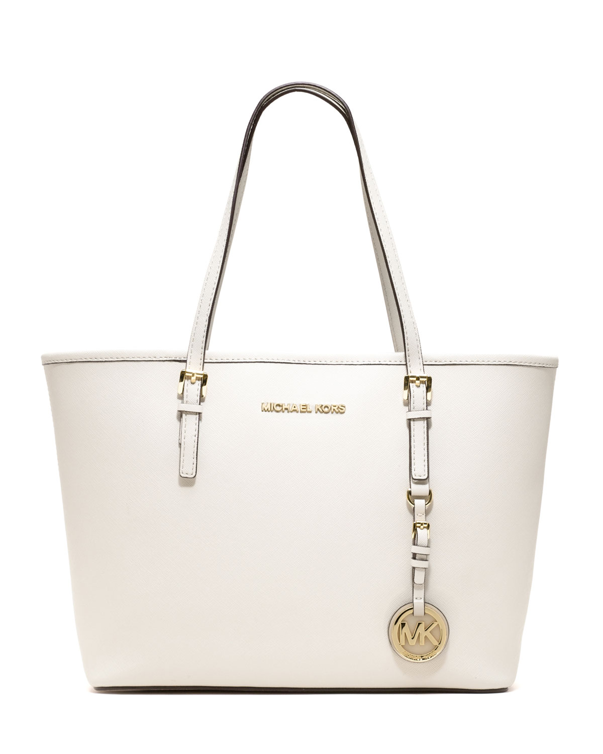 lyst michael kors michael jet set small saffiano travel tote in white. Black Bedroom Furniture Sets. Home Design Ideas