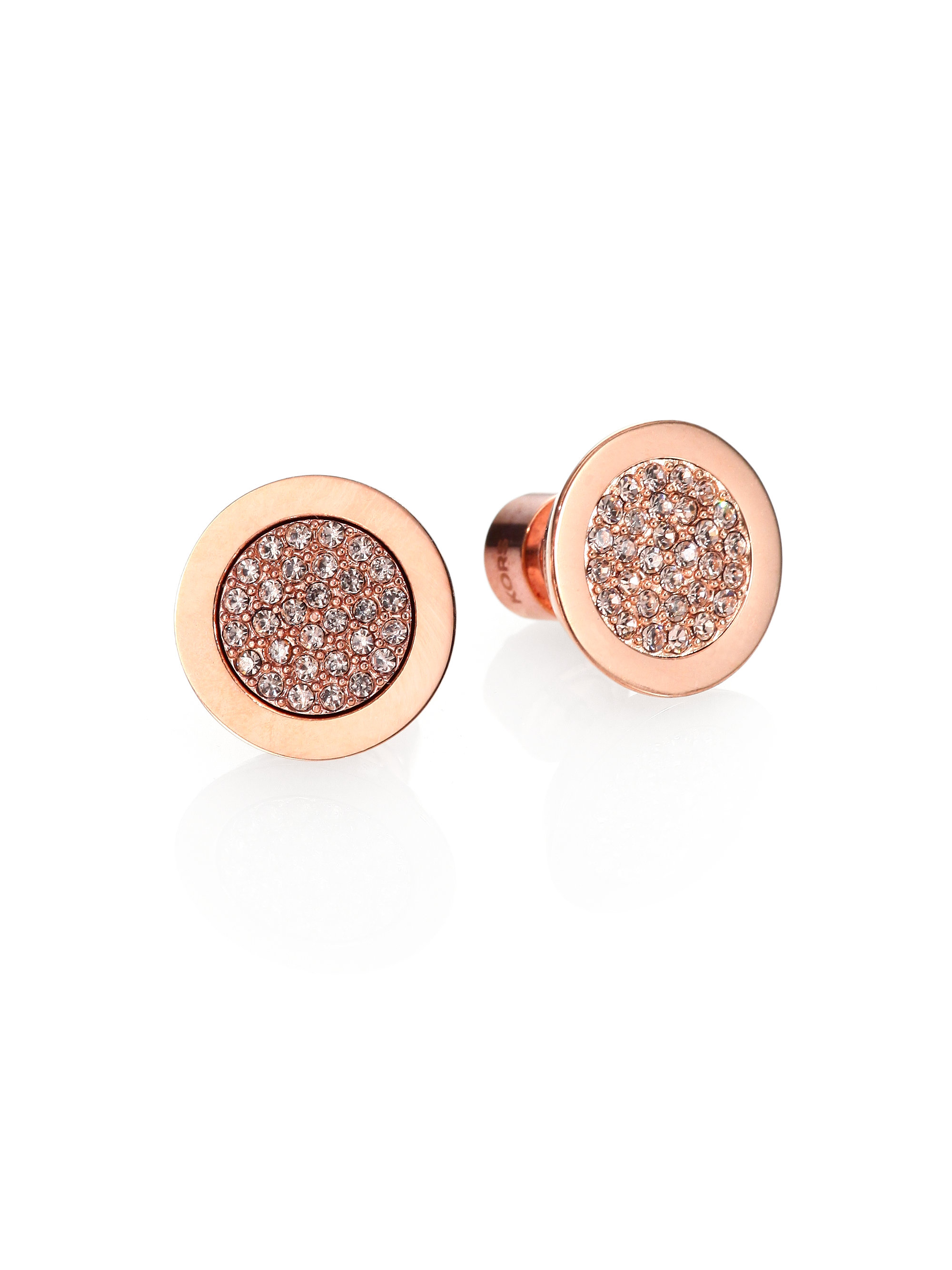 Lyst Michael Kors Pav Eacute Slice Stud Earrings Rose Goldtone In