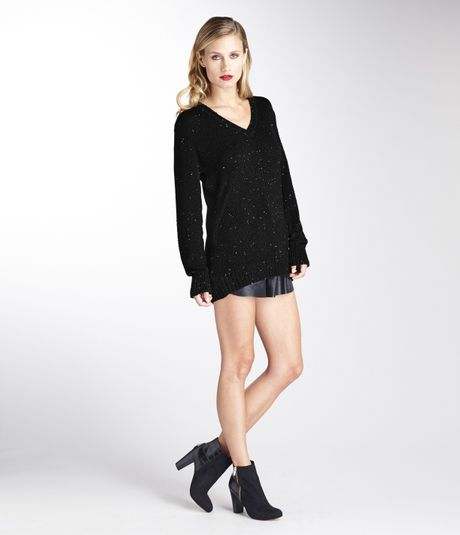 Michael Stars Sequins Deep V Neck Tunic In Black Taupe