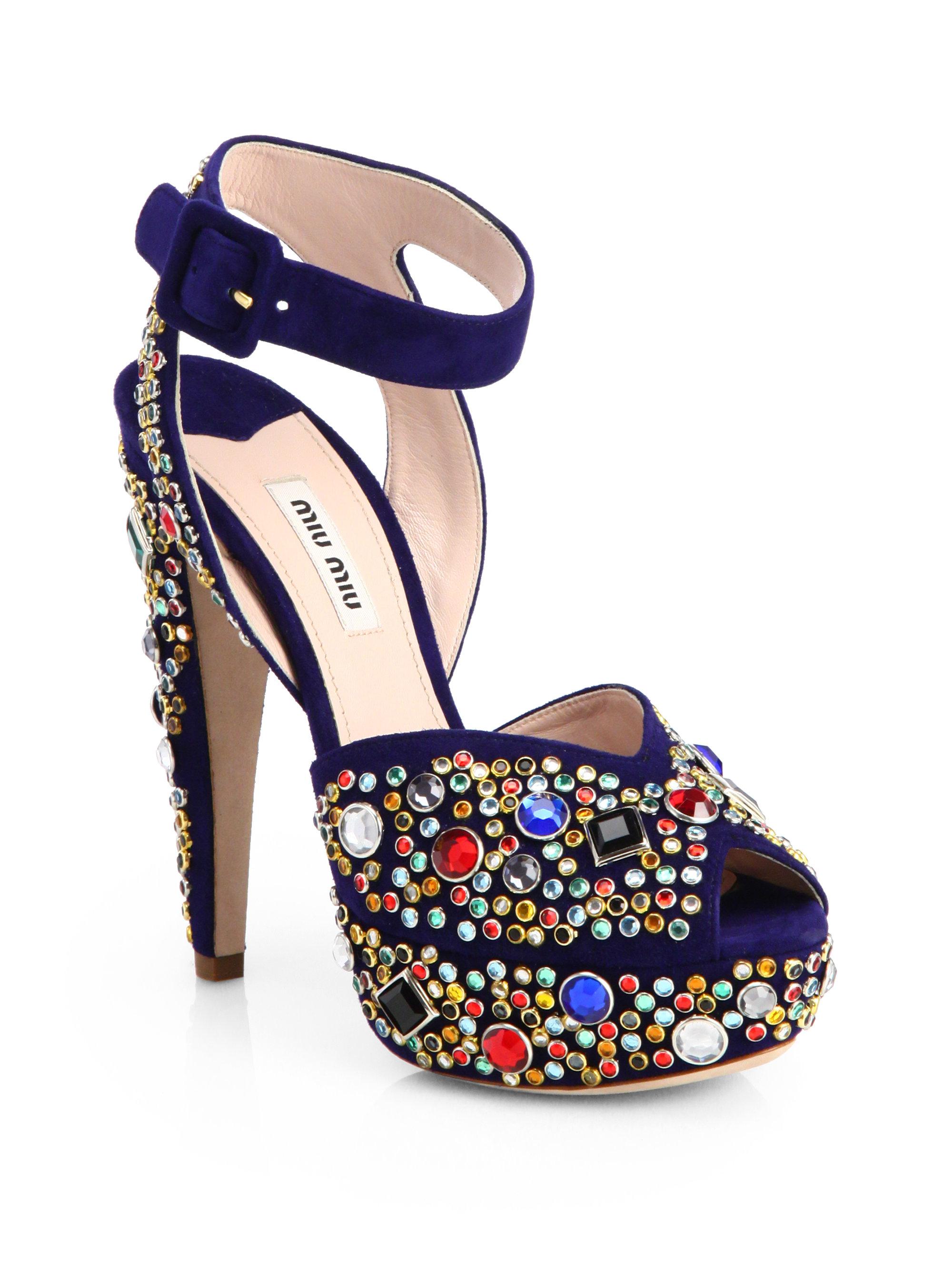 3aea2be6f Miu Miu Donna Jeweled Suede Platform Sandals in Blue - Lyst